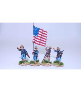 Infantería federal EE.UU., grupo de mando avanzando