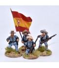 Grupo de mando de infantería española en combate