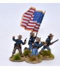 EE.UU., grupo de mando de infantería/caballería avanzando
