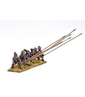 Piqueros con armadura recibiendo caballería
