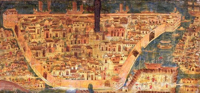 La ciudad de Manila, pintura al óleo del interior de un baúl, circa 1640-1650, Museo de Arte José Luis Bello, Puebla, México. Tras el terremoto de 1645 Manila fue reconstruida y para finales del siglo XVII, había unos 600 edificios intramuros.