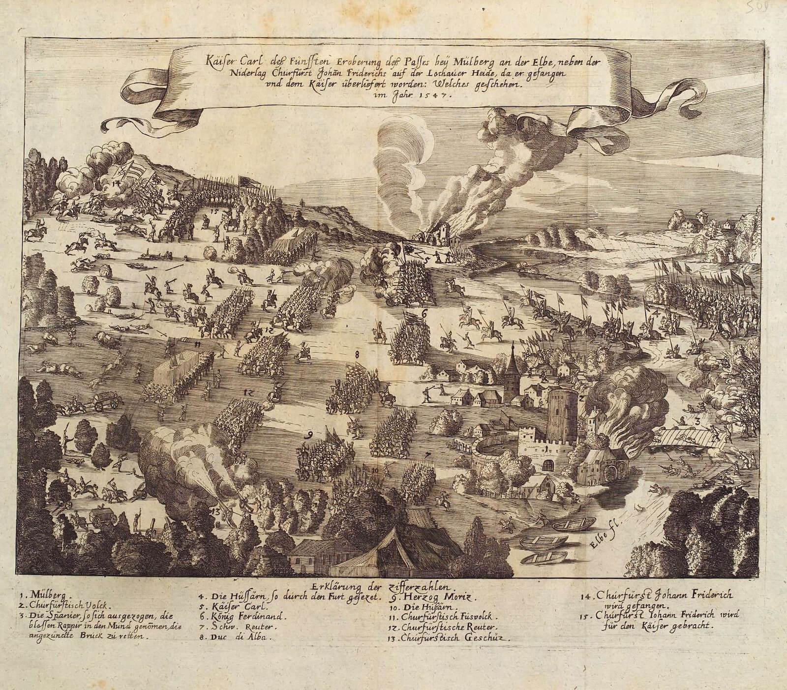 batalla de Mühlberg battle of Mühlberg 1547